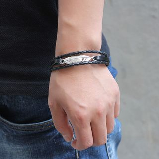 Metal Feather Genuine Leather Layered Bracelet from KINNO