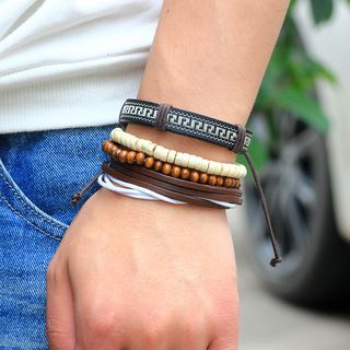 Set of 4: Bead & Genuine Leather Bracelets from KINNO