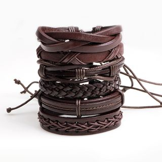 Set of 6: Genuine Leather & Wax Cord Bracelet (various designs) Set of 6 - One Size from KINNO