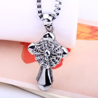 Skull Spider Web & Cross Pendant Necklace from KINNO