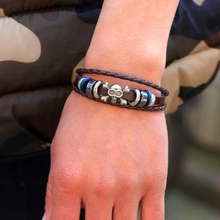 Skull & Braided Faux Leather Layered Bracelet from KINNO