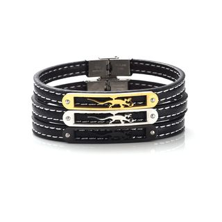 Stainless Steel Gecko Genuine Leather Bracelet from KINNO