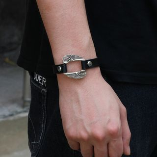 Stainless Steel Wings Genuine Leather Bracelet from KINNO