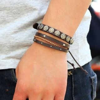 Star Genuine Leather Layered Bracelet from KINNO