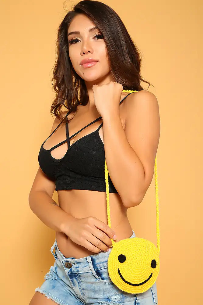 Sexy Yellow Crochet Small Smiley Shoulder Handbag from Kandy Kouture