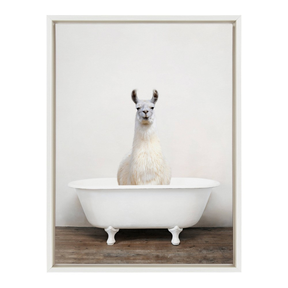 "18"" x 24"" Sylvie Alpaca in the Tub Color Framed Canvas by Amy Peterson White - Kate and Laurel from Kate & Laurel All Things Decor"
