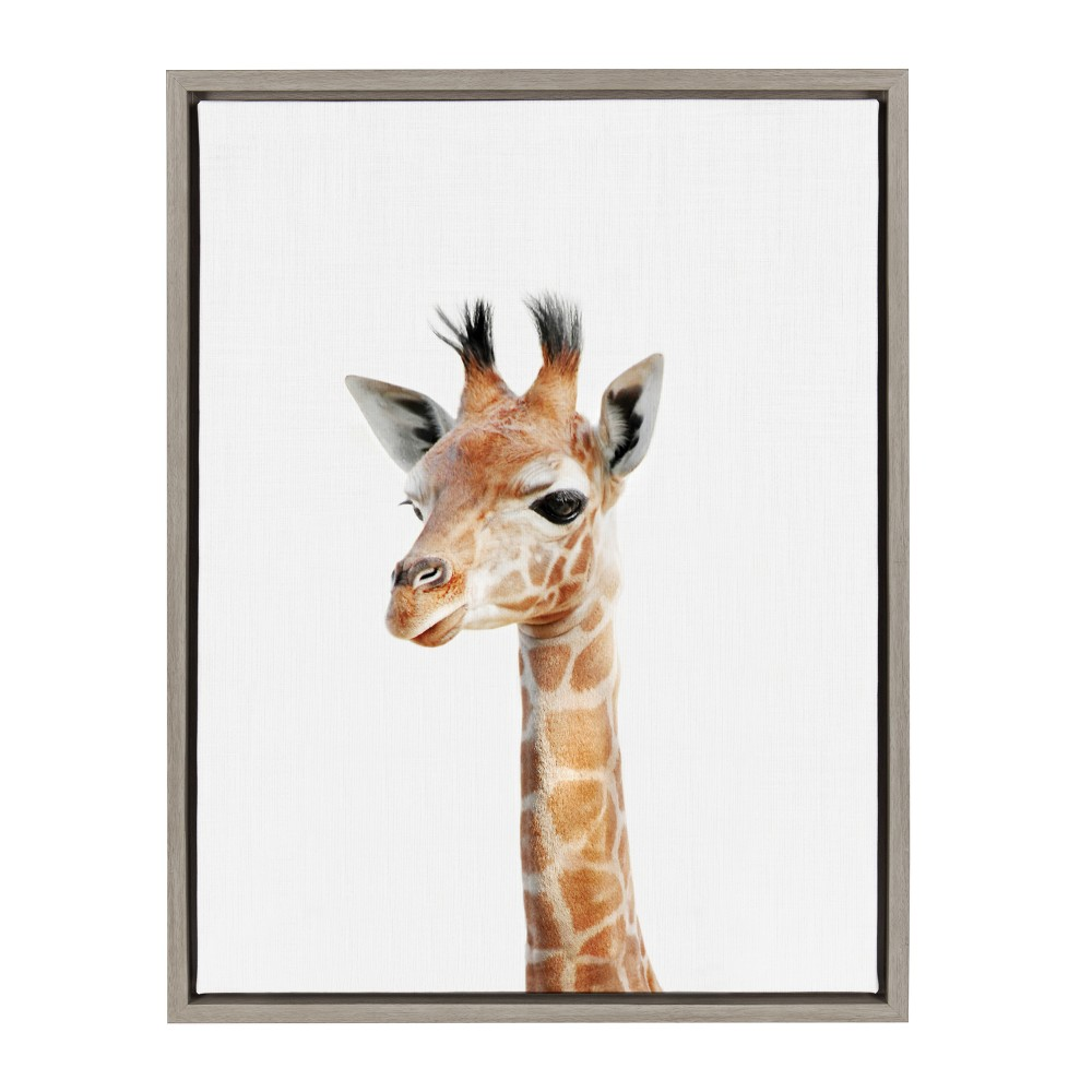 "18"" x 24"" Sylvie Baby Giraffe Framed Canvas by Amy Peterson Gray - Kate and Laurel from Kate & Laurel All Things Decor"