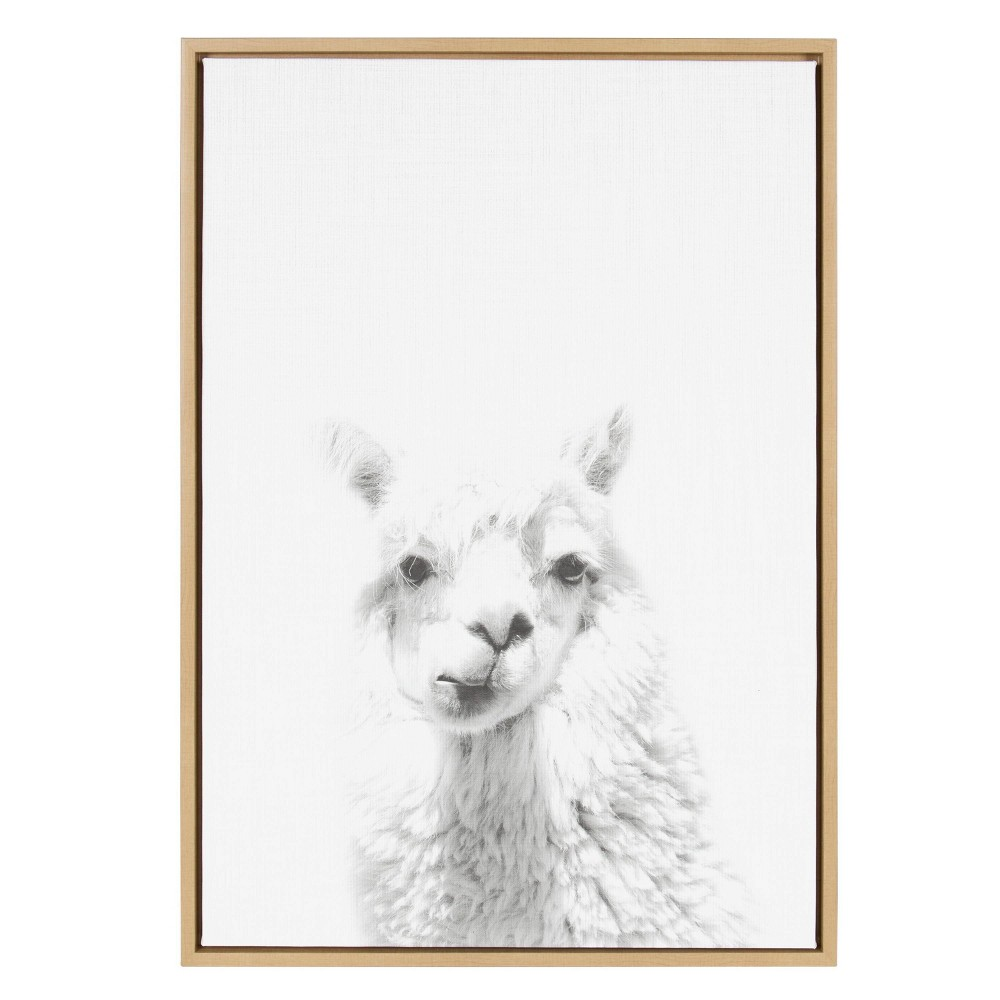 "23"" x 33"" Sylvie Alpaca Framed Canvas by Simon Te Tai Natural - Kate and Laurel from Kate & Laurel All Things Decor"