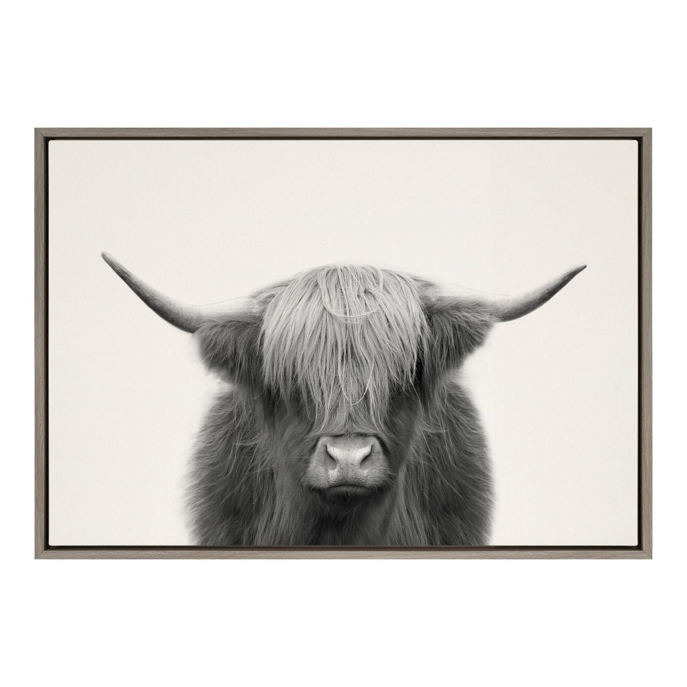 "23"" x 33"" Sylvie Hey Dude Highland Cow Framed Canvas Wall Art by The Creative Bunch Studio Gray - Kate and Laurel from Kate & Laurel All Things Decor"