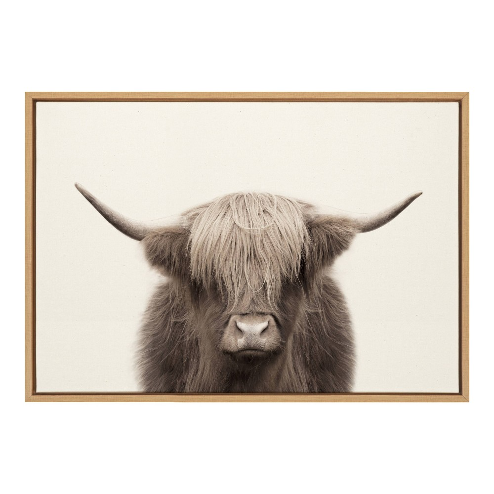 "23"" x 33"" Sylvie Highland Cow Color Framed Canvas by The Creative Bunch Studio Natural - Kate and Laurel from Kate & Laurel All Things Decor"