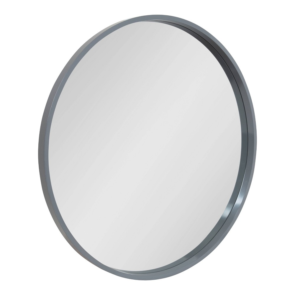 "32"" x 32"" Travis Round Wood Accent Wall Mirror Gray - Kate and Laurel from Kate & Laurel All Things Decor"