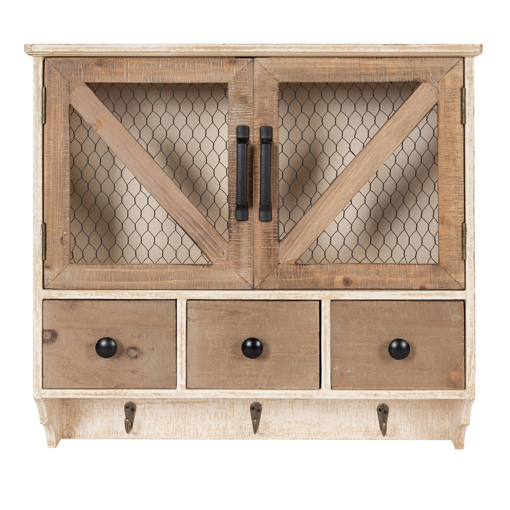 Hutchins Decorative Wooden Wall Cabinet with Chicken Wire 2 Door Rustic/White Washed Finish - Kate & Laurel All Things Decor from Kate & Laurel All Things Decor