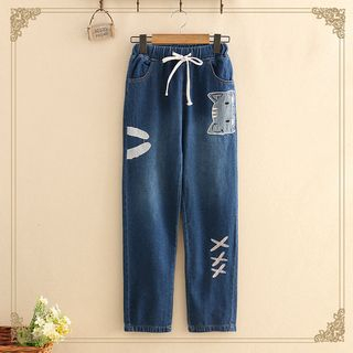 Cat Embroidered Drawstring Jeans from Kawaii Fairyland