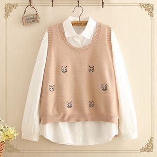 Cat Embroidered Knit Vest from Kawaii Fairyland