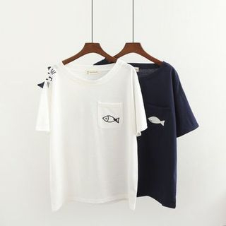 Cat & Fish Embroidered Short-Sleeve Top from Kawaii Fairyland