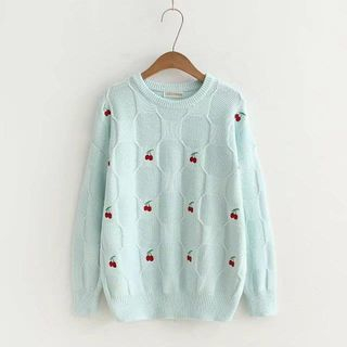 Cherry Embroidered Round-Neck Knit Sweater from Kawaii Fairyland