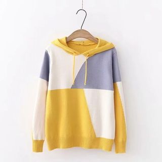 Color-Block Drawstring Hooded Sweater from Kawaii Fairyland