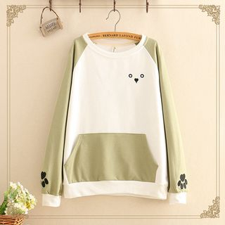 Embroidered Color-Block Long-Sleeve Thin Sweater from Kawaii Fairyland