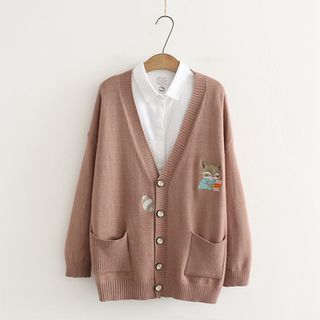 Fox Embroidered Double-Pocket Knit Cardigan from Kawaii Fairyland