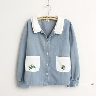 Pocketed Floral Embroidered Denim Top from Kawaii Fairyland