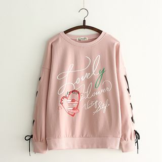 Printed Lace-Up Sleeve Sweater from Kawaii Fairyland