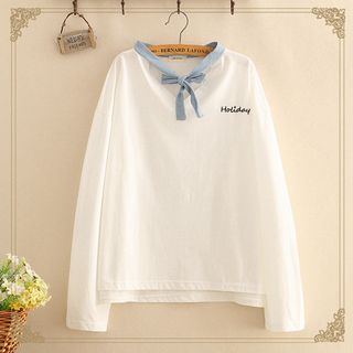 Tie-Neck Holiday Embroidered Long-Sleeve Thin Sweater from Kawaii Fairyland