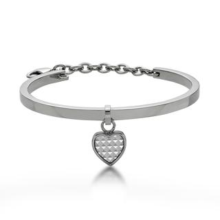 White Pyramid in Heart Bangle Steel - One Size from Kenny & co.