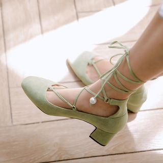 Block Heel Lace-Up Pumps from Kireina