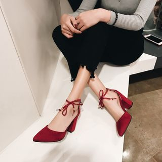Block Heel Pointed Pumps from Kireina
