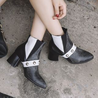 Chunky-Heel Studded Panel Ankle Boots from Kireina