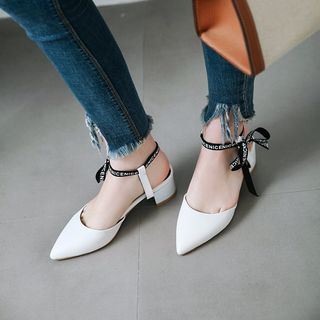Faux Leather Bow-accent Pointed Block Heel Pumps from Kireina