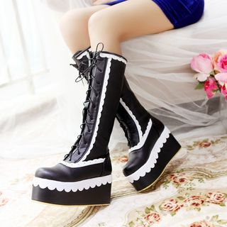 Lace-Up Platform Tall Boots from Kireina
