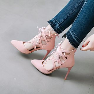 Lace-Up Pointed Toe Stiletto Sandals from Kireina