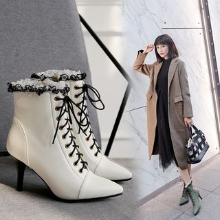 Pointed High Heel Lace-Up Short Boots from Kireina