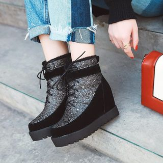 Sequined Platform Hidden-Wedge Ankle Boots from Kireina