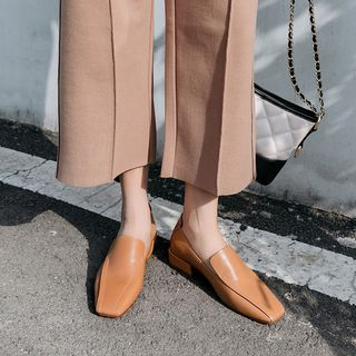 Square-Toe Block Heel Loafers from Kireina