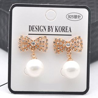 Faux Pearl Bow Earring As Shown In Figure - One Size from Kulala