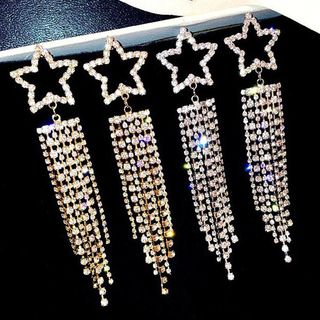 Rhinestone Star Fringed Earring from Kulala
