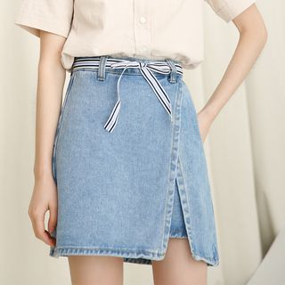 Asymmetric A-Line Denim Skirt from Lady Jean