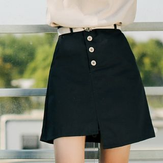 Asymmetric Hem A-Line Mini Skirt from Lady Jean
