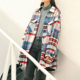 Buttoned Plaid Jacket from Lady Jean