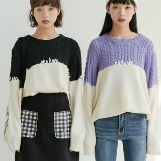 Cable Knit Two-Tone Sweater from Lady Jean