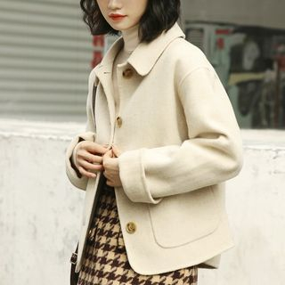 Collared Button Cropped Coat Melange Beige Almond - One Size from Lady Jean