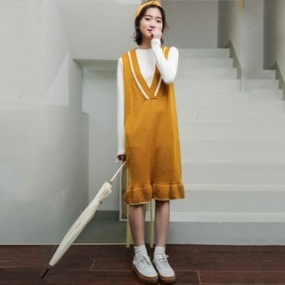 Color Block V-Neck Knit Tank Dress Yellow - One Size from Lady Jean