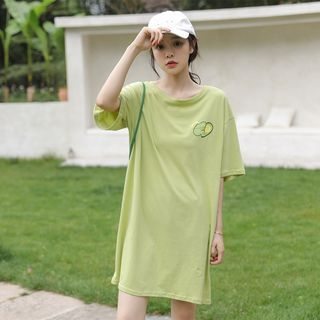 Elbow-Sleeve Avocado Print T-Shirt Dress Green - One Size from Lady Jean