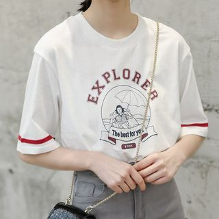 Elbow-Sleeve Cartoon T-Shirt White - One Size from Lady Jean