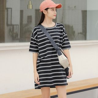 Elbow-Sleeve Striped T-Shirt Dress from Lady Jean