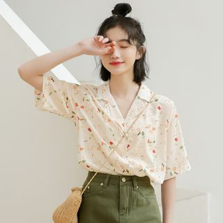 Floral Elbow-Sleeve Blouse from Lady Jean
