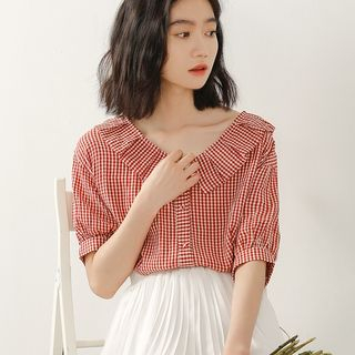 Gingham Elbow-Sleeve Blouse Gingham - Red & White - One Size from Lady Jean