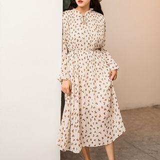 Leaf Print A-Line Midi Chiffon Dress from Lady Jean